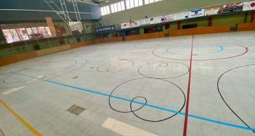 Enllesteixen les obres d'arranjament del terra del Pavelló Municipal d'Esports de Malgrat